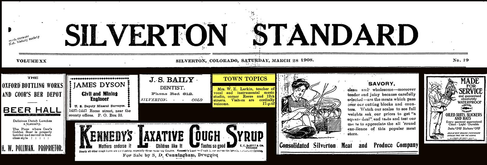 silverton standard march 28 1908