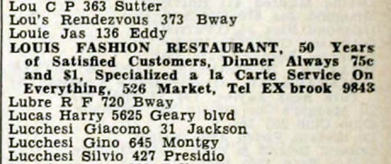 Louis Fashion Restaurant Directory Listing 1941